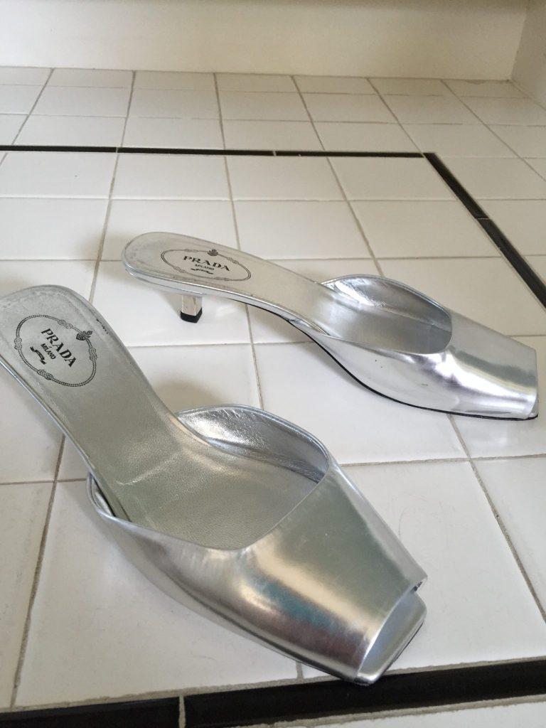 prada silver slip ons