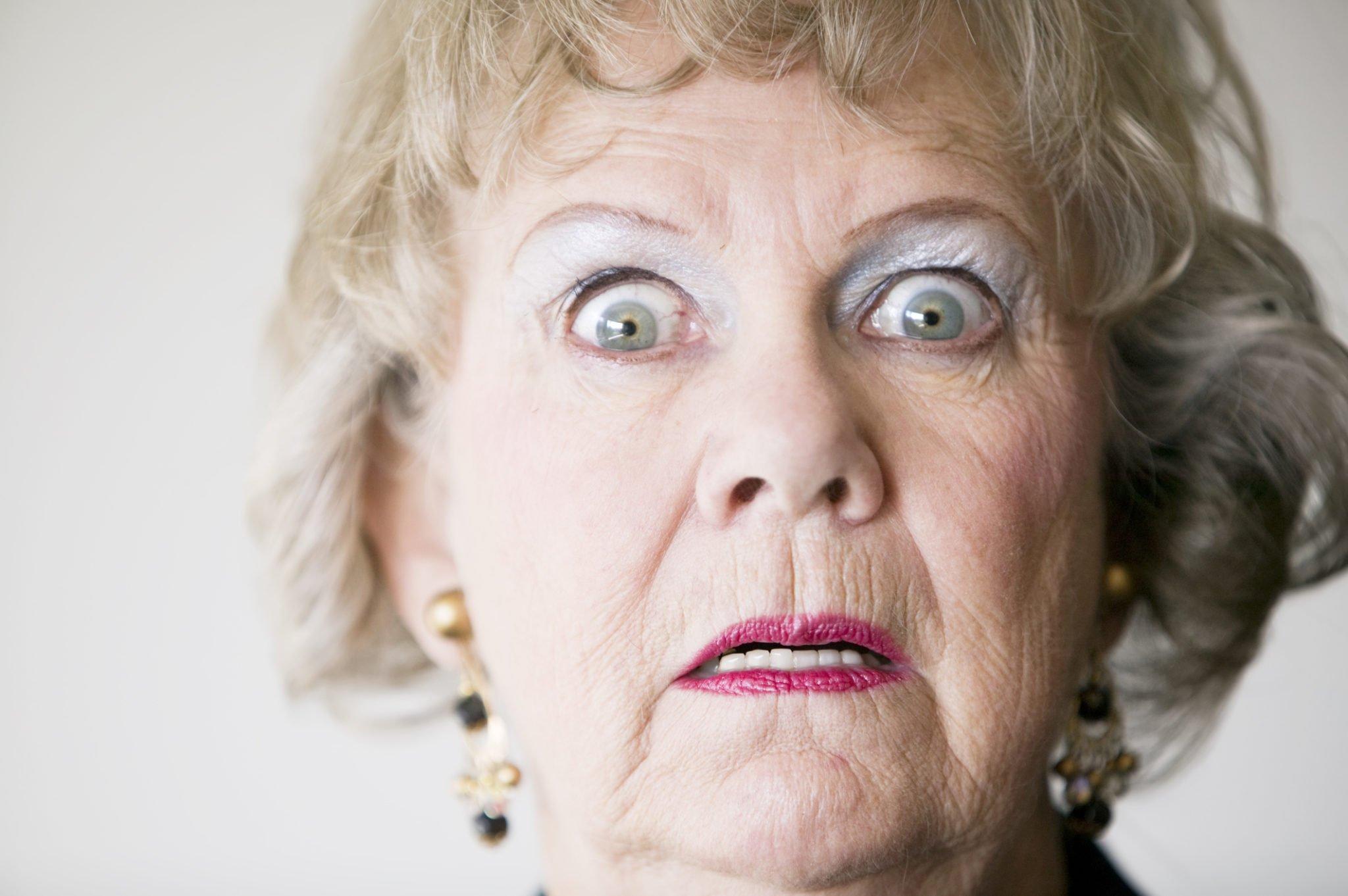 horrified woman