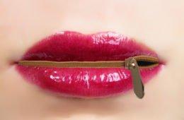 zippered mouth, shut up, closed lips