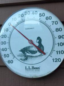 temperature below zero