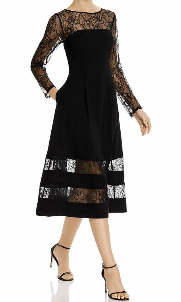 Aidan By Aidan Mattox Shadow Striped Crepe Midi Dress $220.00